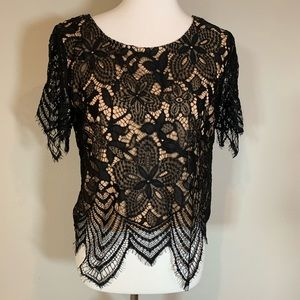 NWT Black lace Express crop blouse